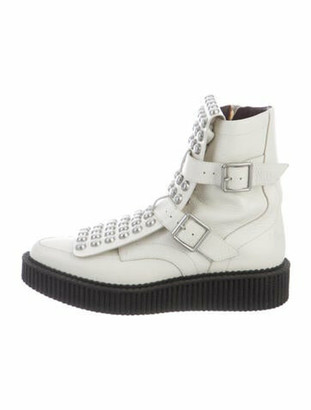 Marc by Marc Jacobs Leather Studded Accents Combat Boots White