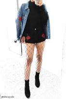 Forever 21 Rose Embroidered Denim Jacket