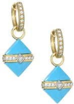 Jude Frances 18K Yellow Gold & Diamond Wrap Square Turquoise Stone Earring Charms