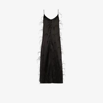 Michael Lo Sordo Ostrich Feather Silk Camisole Top