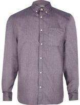 River Island MensPurple flannel long sleeve shirt