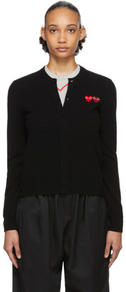 Comme des Garcons Black Double Heart Patch Cardigan
