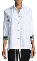 St. John Techno Cotton High-Low Blouse, Bianco