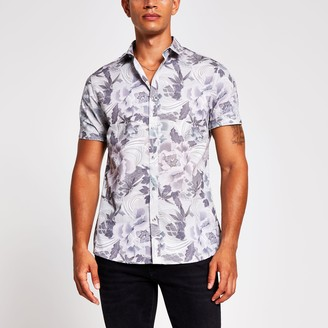 River Island Mens Blue floral print short sleeve slim fit shirt