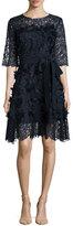 Escada Three-Dimensional Daisy Applique & Lace Dress, Navy