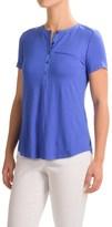 NYDJ Pleated-Back Henley Shirt - Viscose, Short Sleeve (For Women)