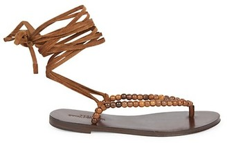 Saint Laurent Gia Ankle-Wrap Beaded Suede Thong Sandals