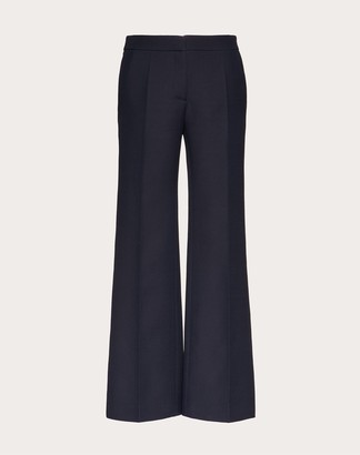 Valentino Crepe Couture Pants Women Navy Virgin Wool 65%, Silk 35% 36