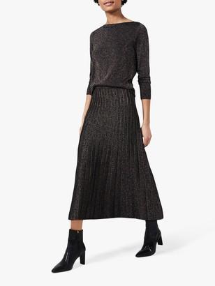 Hobbs Ira Knitted Shimmer Maxi Skirt, Black/Gold