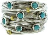 BOAZ KASHI Turquoise Wire Wrap Ring