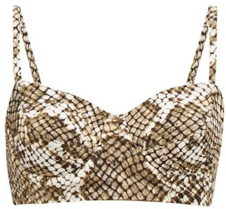 Norma Kamali Python-print Bikini Top - Grey Print