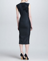 Roberto Cavalli Flocked Midi Dress, Charcoal