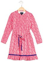 Oscar de la Renta Girls' Floral Print Long Sleeve Dress