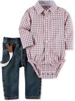 Carter's 3-Pc. Plaid Shirt-Bodysuit, Suspenders & Jeans Set, Baby Boys (0-24 months)