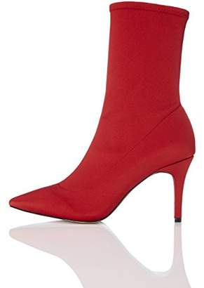 find. Women's Pull on Stretch Ankle Boot, Red, 5 UK