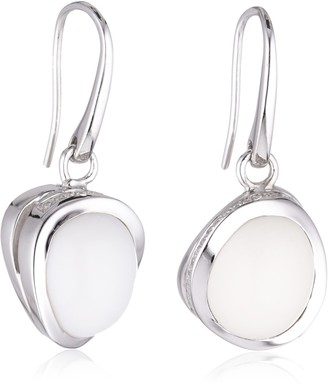 Viventy 763424 Women's Earrings 925 Sterling Silver with 1 White Zirconia and 1 White Agate