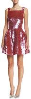 Oscar de la Renta Sleeveless Sequined Mini Dress