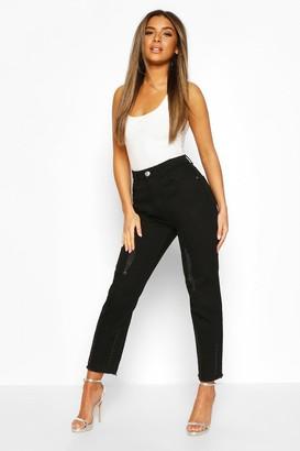 boohoo Petite Distressed Straight Leg Jeans