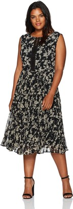 Julian Taylor Women's Size Floral Dress Plus Black/Tan 22W