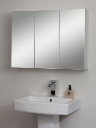 John Lewis & Partners Triple Mirrored Bathroom Cabinet, White