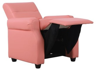 HomePop Kids Recliner, Pink Faux Leather