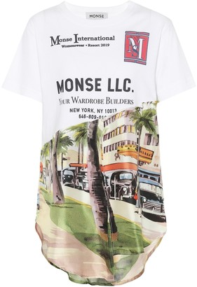 Monse Printed silk and cotton-blend T-shirt