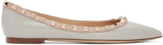 Valentino Grey and Pink Garavani Patent Rockstud Ballerina Flats