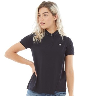 Fred Perry Womens Overlay Pique Shirt Navy