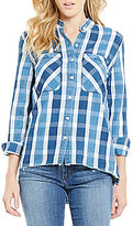 Joe's Jeans Point Collar Raw Edge Plaid Aislin Top