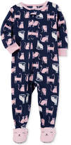 Carter's 1-Pc. Cat-Print Footed Pajamas, Toddler Girls (2T-5T)