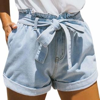 Petalum Women Denim Shorts Vintage Retro High Waist Blue Curling Short Jeans Juniors Summer