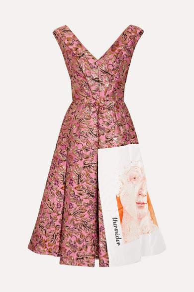 Prada Silk Faille-paneled Metallic Jacquard Midi Dress - Pink