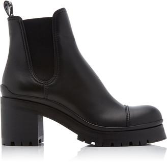 Miu Miu Calf Leather Heeled Chelsea Boots