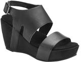 Antelope Black Double-Strap Leather Wedge Sandal