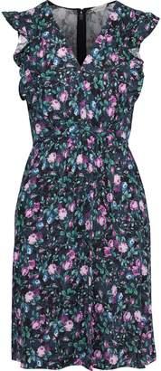 Rebecca Taylor Ruffle-trimmed Floral-print Hammered-silk Mini Dress