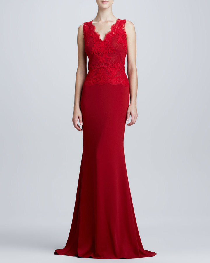 Badgley Mischka Lace-Bodice Jersey Gown