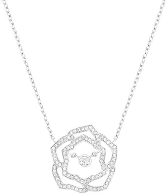 Piaget Rose 18K White Gold & Diamond Pave Cutout Pendant Collar Necklace