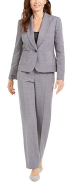 Le Suit Windowpane Plaid Pants Suit