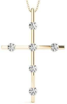 14KT Gold 1.02 CT Bar-Set Round Cut Diamond Cross Pendant Necklace Amcor Design