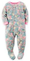 Carter's Floral Zip-Front Footed Pajamas in Grey