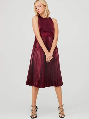 Little Mistress Shine Lace Trim Midi Dress - Red