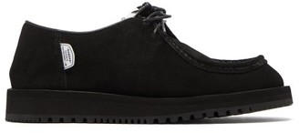 Suicoke Shearling-lined Lace-up Suede Shoes - Black