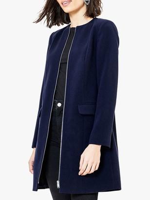 Oasis Collarless Zip Coat