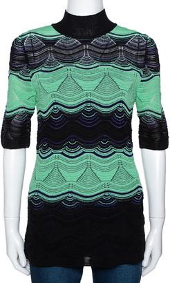 M Missoni Green & Black Wavy Pointelle Knit Mock Neck Top M