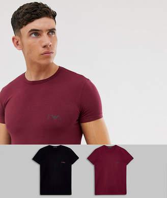 Emporio Armani 2 pack slim fit Eva eagle logo t-shirts in black and burgundy