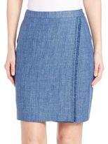 Akris Punto Fringe-Trim Linen Pencil Skirt