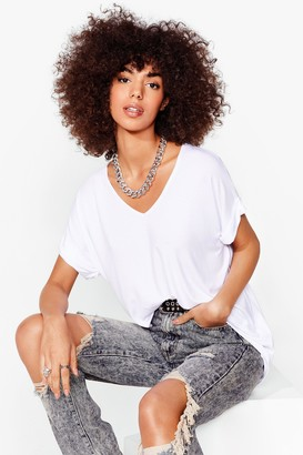 Nasty Gal Womens Leave It to V-Neck Relaxed Tee - White