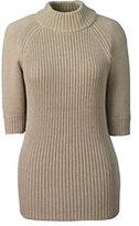Classic Women's Elbow Sleeve Rib Mock Sweater-Blush Sand Heather