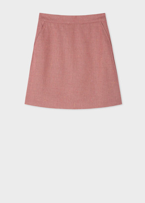 Paul Smith Women's Dusky Pink Flecked Wool-Blend A-Line Skirt
