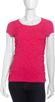 Neiman Marcus Cap-Sleeve Ribbon Blouse, Pink Glo